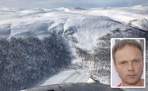 SKREDFARE: Frank Martin Ingilæ, ordfører i Tana (innfelt), advarer mot skredfare i kommunen og ber om at skredvarslinga også kommer til Øst-Finnmark. Bildet i bakgrunnen er tatt etter et snøskred i Tana i påska i fjor.