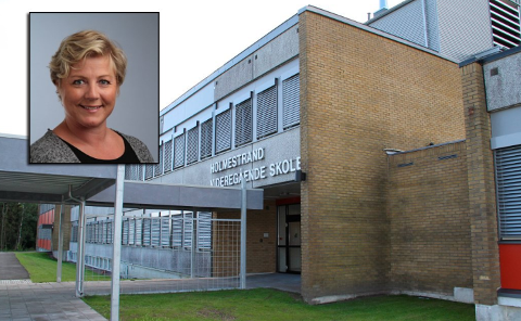 TILTAK: –Nå trenger vi litt tid til å ommøblere rommene, slik at det kan være en meter avstand i undervisningen,  sier Holmestrand-rektor Camilla Reidunsdatter Andreassen.