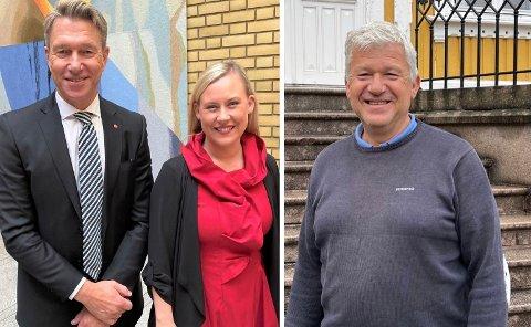 Terje Aasland (t.v.) og Lenge Vågslid blir ikke statsråder i regjeringen til Jonas Gahr Støre. Dermed blir ikke Jone Blikra fast varerepresentant på Stortinget i denne omgangen.