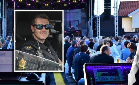 Ståle Sjølie i Kongsberg-politiet sier den første kvelden og natten på jazzfestivalen gikk rolig for seg. Blant annet på Gamle Norge, der hovedbildet ble tatt onsdag kveld.