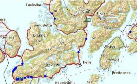 Ulykker med vilt i Vågan: Over 20 viltpåkjørsler er registret i Vågan fra 2010 til utgangen av 2015: Begge Illustrasjon: Statens vegvesen
