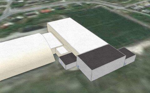 Slik kan det bli: Dette er en av idéskissene KIL har fått utarbeidet. Det grå bygget til venstre er tiltenkt motorikkrom. Det største bygget i midten er ny basis / troppshall, mens det til høyre er tiltenkt squash-baner.