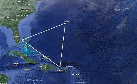 Bermudatriangelet: Det «mystiske» triangelet strekker seg mellom Bermuda i øst, Puerto Rico i sør og Florida i vest, og dekker et havområdet på 2,5 millioner kvadratkilometer.