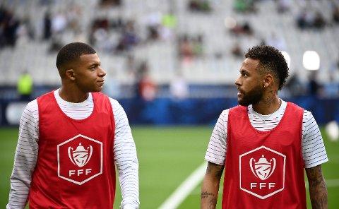 REAGERTE: Kylian Mbappé var lite fornøyd med Neymar i kampen mot Montpellier for i overkant av en uke siden.