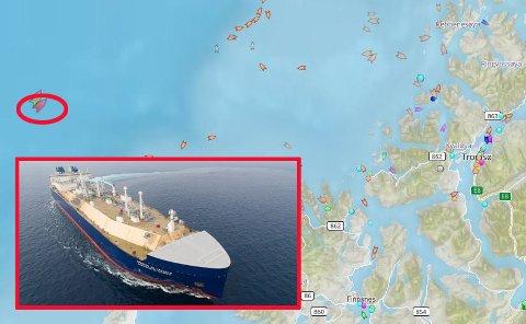 ISBRYTER-TANKER: Tirsdag kveld lå det russiske skipet rett vest for Tromsø.
