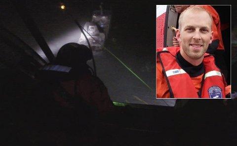 STOR OPERASJON: Arne-Marius Pettersen bor i Tromsø, men jobber turnus på redningshelikopterbasen på Svalbard. Fredag var han med på redningsaksjonen etter at tråleren «Northguider» grunnstøtte.