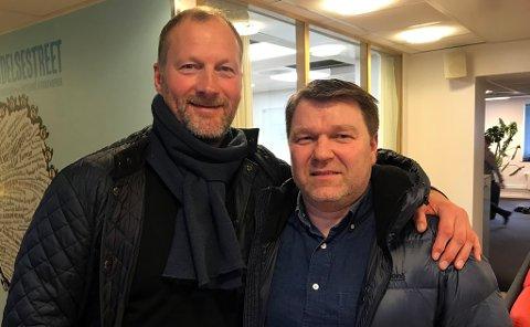 SUKSESSTRENERE: Roger Lange og Stein Berg-Johansen kan se sitt Fløya-lag ta et nytt steg mot et mulig opprykk til PostNord-ligaen når Gjelleråsen kommer på besøk søndag.