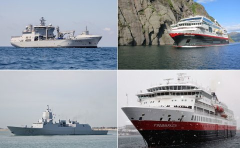 NYE NAVN: MS «Trollfjord» blir omdøpt til MS «Maud» og MS «Finnmarken» blir omdøpt til MS «Otto Sverdrup», og får dermed samme navn som to av Forsvarets største fartøyer.