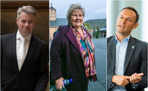 KLARE: Stortingsrepresentant Per-Willy Amundsen (Frp), statsminister Erna Solberg (Høyre) og stortingsrepresentant Torgeir Knag Fylkesnes (SV).