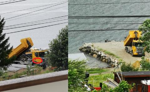 DUMPER MASSER: Her dumpes masser av en bil tilhørende Tromsø kommune. Nå etterspør Fylkesmannen informasjon om dette er lovlig.