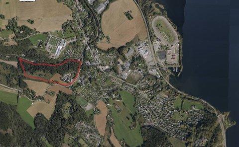 Gjøviks forslag til tomt for det nye Mjøssykehuset, som skal bygges «ved Mjøsbrua».