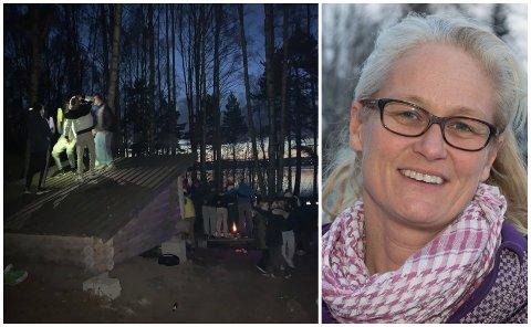 FEST: Fredag festet flere titalls ungdommer i 15-18-årsalderen ved Tallodden i Østre Toten. Kommuneoverlege Rebecca Setsaas skjønner at folk vil møtes, men ber ungdommen dra hjem hvis det kommer mange fler enn planlagt.