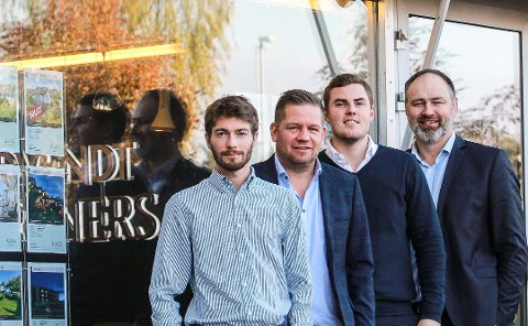 Lars Johnsen, Fredrik Lund Vang, Kjell Inge Nygaard og Patrik Kolshus hadde store ambisjoner for Sydvendt & Partners på Tangetoppen. Nå er avdelingen på Nesodden historie. Arkivfoto