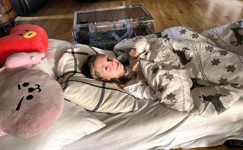 LANGE DAGER: Thea Michell Langdalen (14) fra Hernes ble smittet av korona for snart to måneder siden. Hun er fortsatt veldig dårlig, og orker knapt være oppe.