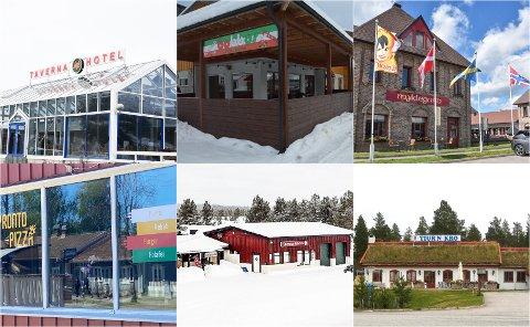 KONTROLLERT: Taverna på Alvdal, Bobbos Pizza i Trysil, Myklegard i Løten, Pronto Pizza i Elverum, Sølenstua i Engerdal og Tiur'n Kro i Stor-Elvdal.