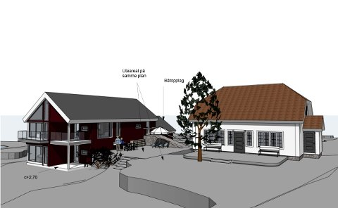 Denne illustrasjonen er en av flere som er sendt inn. Vi ser hovedhytta til høyre, og det tenkte låveliknende huset for gjester til venstre.