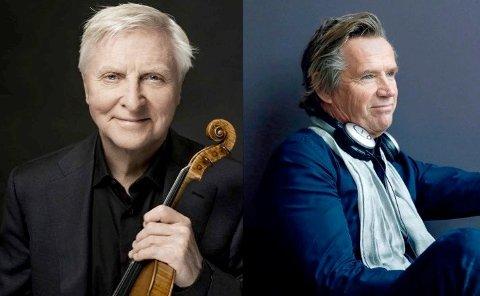 Fiolinisten Arve Tellefsen og den klassiske musikeren og komponisten Kjetil Bjerkestrand skal onsdag kveld ha konsert for 65 personer på Rockers i Langesund.