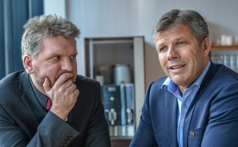 Marius Meisfjord Jøsevold (t.v.) og Bjørnar Skjæran er begge innvalgt i fylkestinget for perioden 2019-2023.