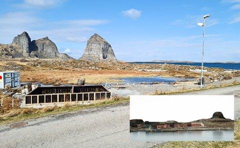 Ytterst på Husøya med direkte utsikt til Sanna og Trænstaven er arbeidet med Træna 365 kommet i gang. Når alt er ferdig, vil det se ut som i bildet innfelt.
