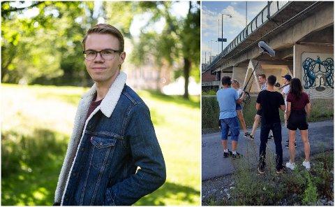 NY SESONG: Aleksander Dokkeberg fra Hønefoss står bak dramaserien FLINK. Her ser vi ham sammen med teamet under innspilling i hjembyen.