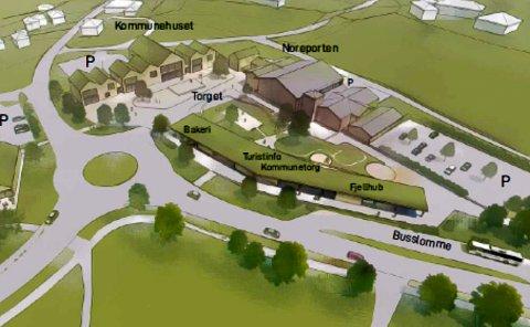 NORESUND: Slik ser Expo Property for seg at det kan bli seende ut i Noresund sentrum.
