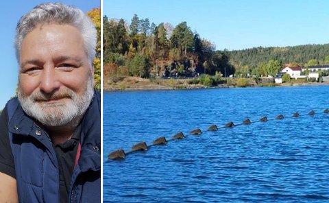 BEKYMRET: Ukjent ledning i Steinsfjorden vekket uro for båtfører Lars Petter Hannestad.