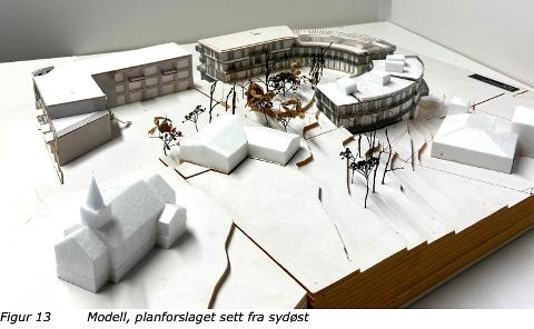 SLIK: Modell av utbyggingsplanene for Hjørnetomten II og Sentrumsgården i Heggedal.
