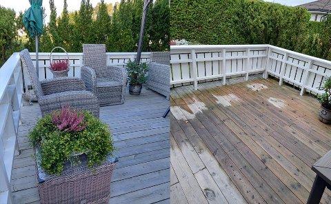 Det ene bildet viser hagemøblene som natt til lørdag ble stjålet fra huset i Myrveien i Askim.