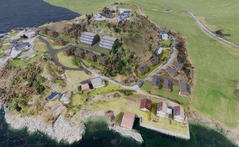 REDUSERT PLAN: Utbyggaren i Sandvik på Fister har mellom anna redusert dei to blokkene midt i planen og teke ut eitt av dei to nye husa ved badestranda nedst i bildet.