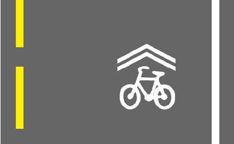 Det nye delesymbolet skal bidra til økt fremkommelighet og bedre trafikksikkerhet for syklister. (Illustrasjon: Statens vegvesen)