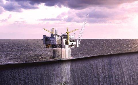Aasta Hansteen-plattformen skal være i produksjon i Norskehavet i slutten av 2018. Snefrid Nord knyttes til plattformen. Illustrasjon: Statoil.