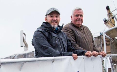 Reporter Roar Halten (til venstre) har med seg Griprutas Ole Tønder når NRK skal sende direkte fra Grip på nasjonaldagen.