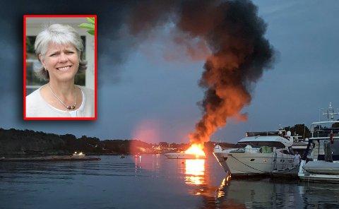DRAMATISK BÅTBRANN: Da brannen brøt ut, visste direktør på Scandic Havna Tjøme, Ingrid Stokka Sagen, med en gang hva hun måtte gjøre: – Vi er glade for at vi kunne hjelpe.