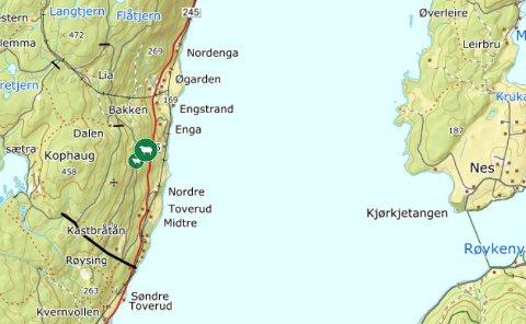 OMRÅDET: De drepte sauene er markert med rødt på kartet.