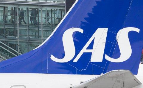 Gardermoen  20180424. Logo på SAS fly som står på Gardermoen. Foto: Vidar Ruud / NTB scanpix