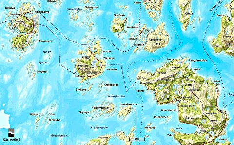 Grensen mellom Rødøy og Lurøy deler to øyer og ei halvøyi to.