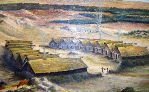 Ringtun: Dette maleriet viser hvordan ringtunet  på Vollmoen kan ha sett ut. Det er et lignende tun Lillian Molstad-Andresen vil bygge opp som en del av Steigartunet Vikingcamp.