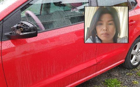 Slik så bilen ut etter sammenstøtet. Speilet ble knust og siden skrapet opp. Forbikjøreren stakk av.