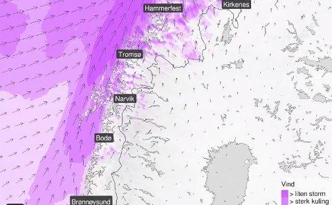 Varsler at det blir vindfullt i Nord-Norge på fredag.