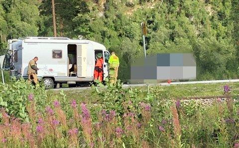 Frontkollisjonen i Saltdal mellom bobilen og personbilen endte fatalt.