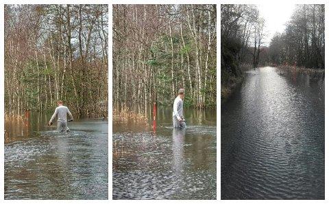 INNESTENGD: Ricky Bu er innestengd på tredje dagen på grunn av flaum, og vatnet stig, rapporterer han laurdag ettermiddag.