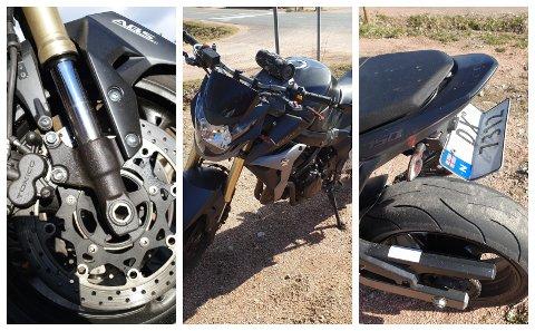 Motorsykkelen hadde fått flere skader da den ble funnet.