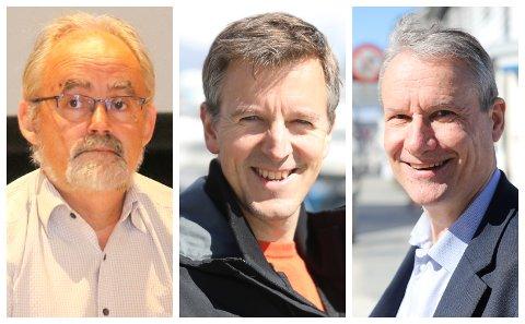 EINIGE: Geir Oldeide (Raudt), Erling Sande (Sp) og Olve Grotle (H) er hjartens einige i at utlendingskontoret ikkje bør samlast på politistasjonen i Førde.