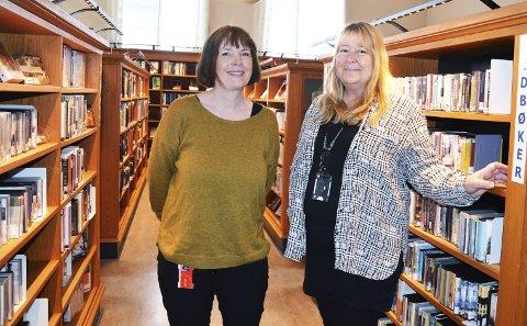 UTLÅN: I år skal Hanne Utne (t.v.) og Kirsti Knutsen kjøpe inn bøker for 1, 15 millioner kroner, men de skulle gjerne hatt mer penger.Foto: Randi Kristoffersen