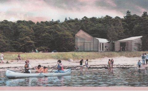 Den Hvaler-bosatte arkitekten Ellen Enger har tegnet skissene for det nye friluftsbygget på Storesand. Det skal erstatte dagens 80-tallsbygninger.