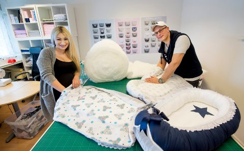 NYTT LEVEBRØD: Samboerparet Vida Haddad og Jørgen Kristiansen endte med et nytt levebrød etter at Vida hadde tatt frem symaskinen for første gang siden ungdomsskolen.