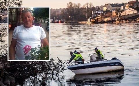 Familien til savnede Svein Greaker Bellmanns (60) har lett der de har kommet til. I dette innlegget blir kommunen utfordret til å være med å skaffe utstyr til søk under vann. Foto:  Geir A. Carlsson/Privat