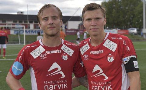 SENTRAL: Mathias Nicolaisen (til venstre) sammen med dagens målscorer, Mathias Johnsen. Nicolaisenforsvarer at Mjølner henter inn spillere.