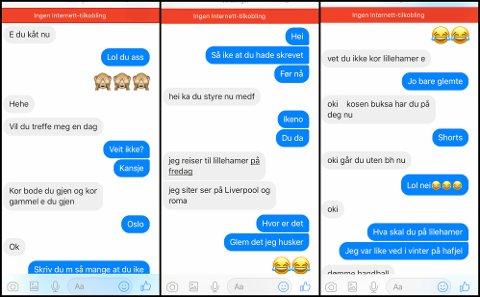 Bildet viser skjermdumper fra samtalen en mann trodde han hadde med en 12 år gammel jente. I samtalen kommer det frem at mannen skal til Lillehammer for å dømme håndball. Den 12 år gamle jenta var en fiktiv Facebook-profil laget av Barnas Trygghet. De jobber med å avdekke potensielle overgripere på nettet.