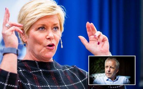 Finansminister Siv Jensen (Frp) gjør det vanskeligere for ordfører Hans O. Høistad (Ap) og andre lokalpolitikere, blant annet ved å kutte i eiendomsskatten. (Foto: Scanpix/Torbjørn Olsen)